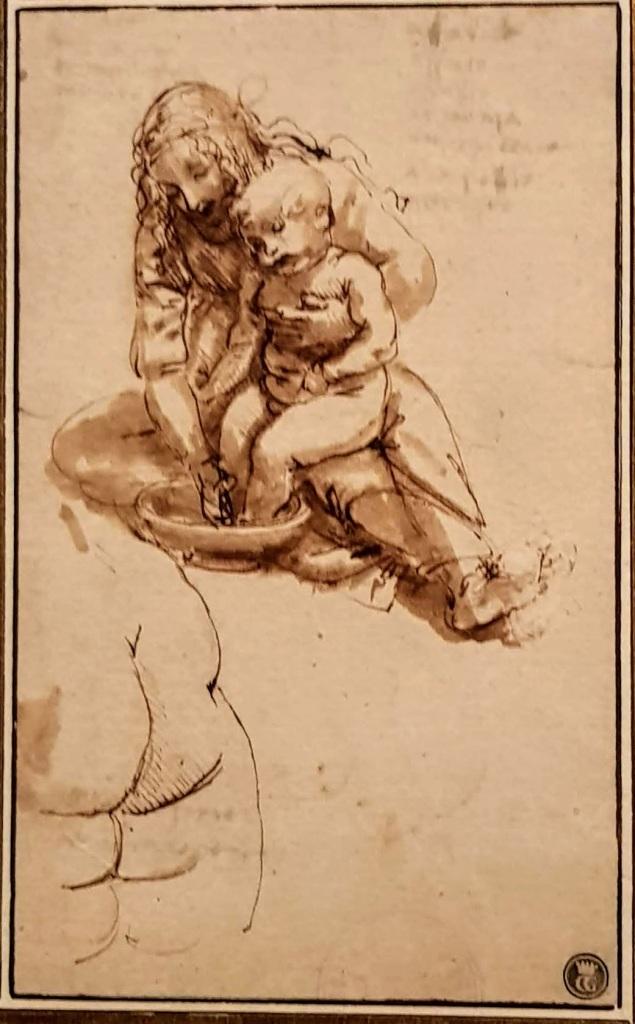Vierge lavant l'enfant Jésus